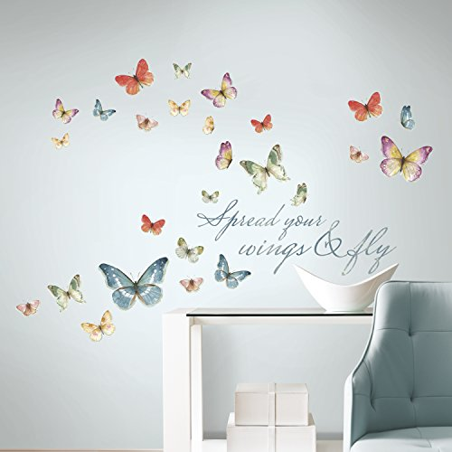 RoomMates RMK3263SCS - Vinilo decorativo para pared, diseño de mariposas, multicolor