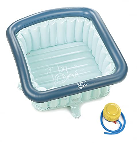 Jané 040308 T49 Verkleinerungseinsatz für Duschwanne 60x60 cm, Aufblasbar, 70 Liter, inklusive Luftpumpe, mit Saugnäpfen und Abflussstopfen, blau