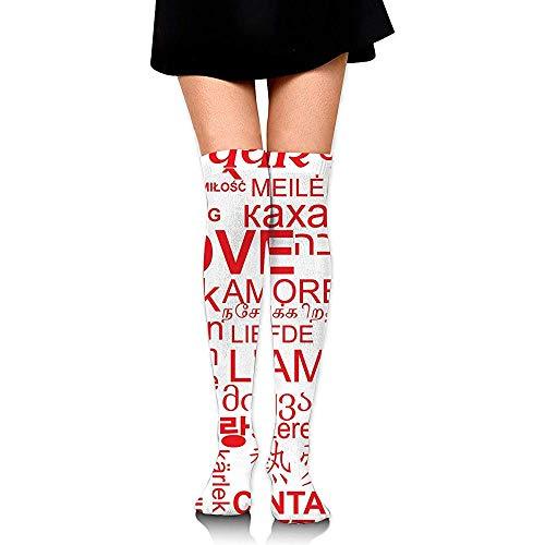 ulxjll Sportliche Socken World Love Word Rot Weiß High Knee Fashion Bequeme Stiefel Socken Athletic Lady Overknee Schlauch Socken Schenkel Hohe Strümpfe Frauen Mädchen 60Cm