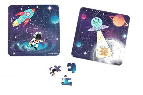 Mini Puzzles für Kinder: Space - 2 Stück - Größe: 14x14cm