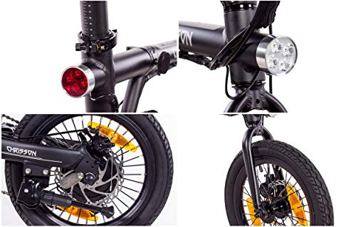 Vélo pliant Christ ERTOS 16 - Noir - Vélo électrique pliable avec roue arrière 250 W 36 V 30 Nm - Pedelec Faltrad pour femmes, hommes et adolescents, vélo pliable électrique pratique