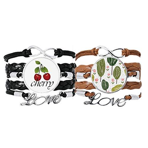 Bestchong Armband mit abstrakten Pflanzen, Kunstmuster, Handschlaufe, Lederseil, Kirschbaum, Liebesarmband, Doppelset
