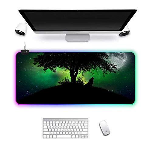 Gaming Mouse Pad RGB Mouse Pad Gamer Computer Mousepad RGB Backlit Mause Pad Large Mousepad XXL for Desk Keyboard LED Green Wolf 90X40cm