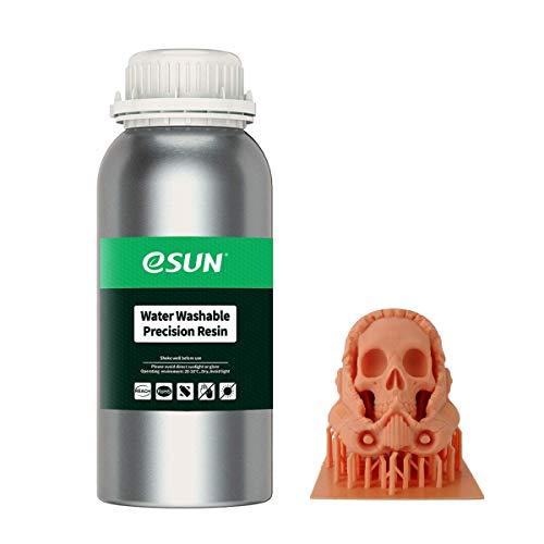 eSUN Cera Roja Lavable con Agua 3D Resina Rápida Curado UV 405nm Resina Alta Precisión para LCD Impresora 3D Fotopolímero Resina Líquida de Impresión 3D, 500g Rojo Naranja