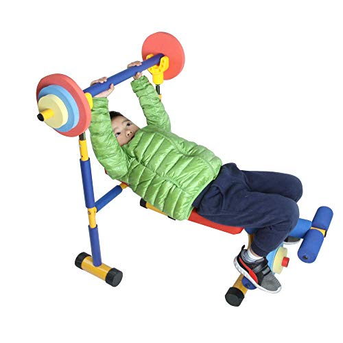 Toy Bench and Leg Press, Children's Play Workout Equipment for Beginner Exercise, Weightlifting for Boys and Girls, Birthday Gifts, Equipment for Kids