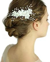 Kercisbeauty - Peinetas para el pelo hechas a mano con flores blancas y hojas doradas con cuentas de estrás para novias, accesorio rústico para el pelo de boda para mujer