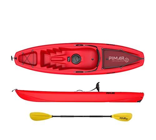 NAUTICA PIMAR Kayak Canoa pimar 10003 Red da 266 cm + 1gavone + 1 pagaia + 1 seggiolino + 1 ruotino (Rosso, 266)