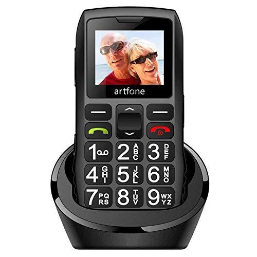 Artfone GSM Téléphone Senior Portable Débloqué à Grosses Touches, Bouton SOS, 1400mAh Batterie, avec Station de Charge, Noir