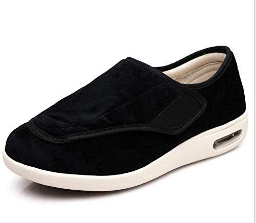 RSVT Zapatos De Edema De Artritis DiabéTica,Deslizadores Anchos de la Espuma de la Memoria, Zapatos de Las Mujeres del Invierno para el Hallux valgus-44_Negro Grueso