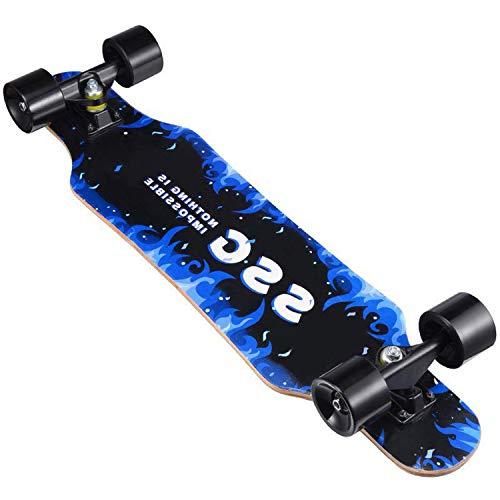 HMAKGG Skateboard 31'' Skateboard Profesional Impermeable Patín al Aire Libre Baile Longboard Road Dance Scooter Doble Inclinación Junta para Adolescentes Adultos Principiantes