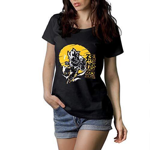 Goku Ultra Istinto - T-Shirt Damen - 100% Baumwolle (M, Schwarz)