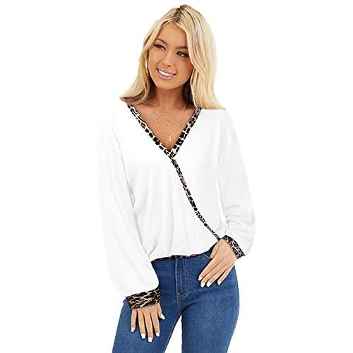 SLYZ Camiseta De Primavera para Mujer, Top con Estampado De Leopardo, Costuras con Cuello En V Profundo, Camiseta De Manga Larga para Mujer