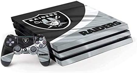 Skinit Decal Gaming Skin Compatible with PS4 Pro Console and Controller Bundle - Officially Licensed NFL Las Vegas Raiders Design
