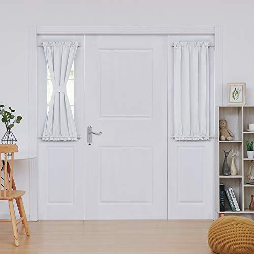 Deconovo Thermal Insulated - Room Darkening Door Curtain Panels for French Door, 25x40 in, Light Greyish White, 1 Panel