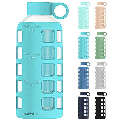 purifyou Glas-Wasserflasche mit Silikonhülle und Edelstahl-Deckeleinsatz 340 g aqua blue
