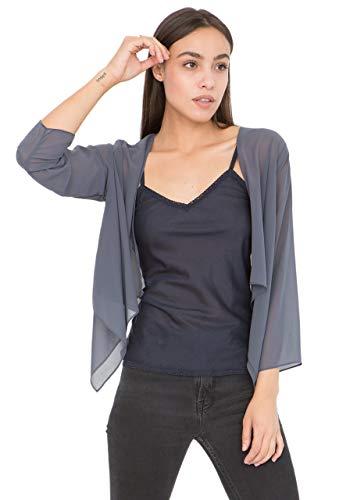 likemary Damen Bolero Schulterjäckchen aus Chiffon - Durchscheinend - ¾ Kurzarm - Vielseitig kombinierbare Jacke - Passt zu Abendkleid, Alltagskleidung als hauchdünne Jacke Grau 34 (UK 8)