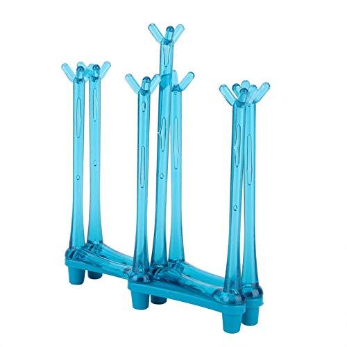Alvinlite Rejilla para Secado de Tazas, Soporte para Secado de Tazas de Vidrio, Soporte para escurridor de Tazas de Agua con Soporte para 7 Tazas para el hogar, la Cocina, la Oficina(Azul)
