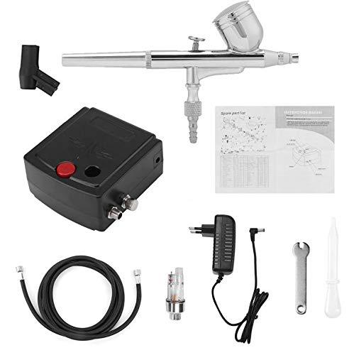 Kit de aerógrafo 0,2 mm 7 cc Dual Action Airbrush Compresor Completo Set Air Brush Pistola de pulverización con filtro de humedad para Make Up Nail Art Eu Plug