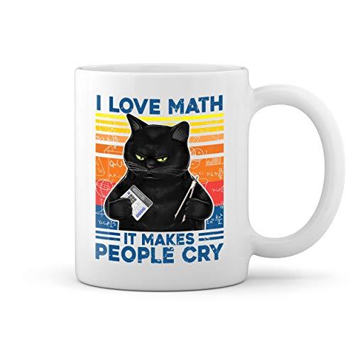 Vintage Cat Love Math It Makes People Cry Blanco taza Mug