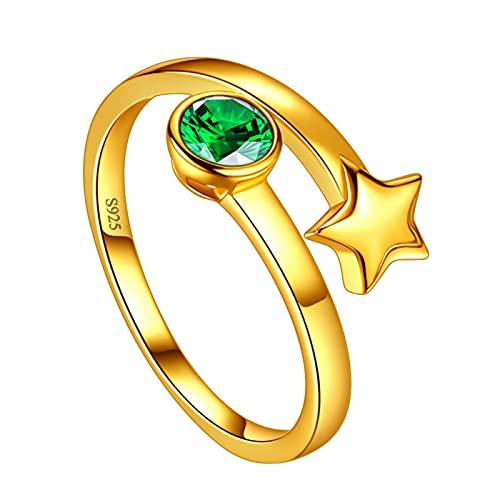 Jewmon Collar de mujer con piedra natal de plata de ley 925, colgante redondo con piedra natal de regalo para niñas y mujeres, San Valentín, aniversario, cumpleaños, regalo para niña, novia, madre,