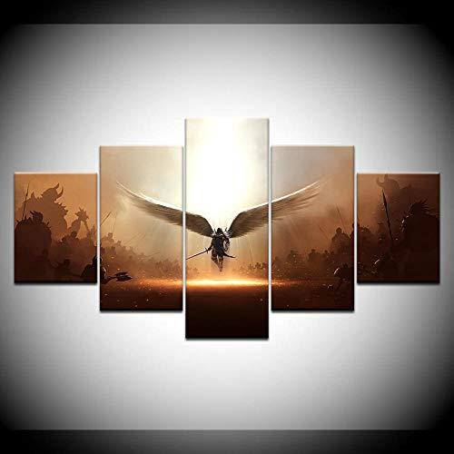 Murturall 5 stuks afdrukken op canvas, het spel twee stappen canvas schilderij moderne muurkunst foto's wooncultuur poster 150x80cm