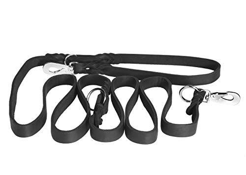 PET FIRST Fettledertrainingsleine für Hunde | Hochwertige Trainingsleine aus geflochtenem Leder | Handgefertigt in Europa Echte Leder-Leine für Hundetraining - Länge 250 cm - Schwarz