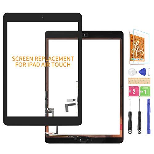 Para iPad Air 1 1ª generación de pantalla táctil digitalizador de vidrio de repuesto, para iPad 5 A1474 A1475 A1476 panel Kit de piezas de reparación (con botón de inicio) (negro)