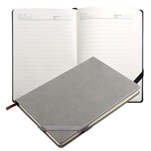 Taccuino con Copertina Rigida Classica Notebook, Carta Premium di Spessore con Una Multa tasca interna, Liscia Pelle Sintetica Nera (Grigio)