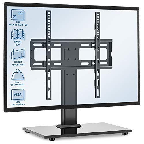 RFIVER Soporte TV de Mesa para Television Plana Curva de 32 a 55 Pulgadas con Giratorio y Altura Ajustable UT1002