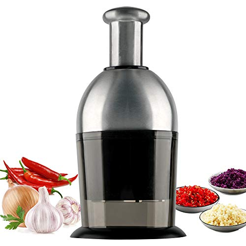 Food Chopper, Stainless Steel Automatic Rotate Hand Chopper Dicer Manual Quick Slap for Garlic Onions Pepper Nuts Vegetable, Great