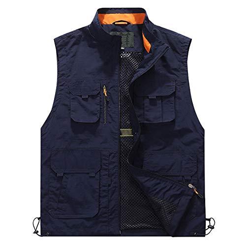 GAOHONGMEI Chaleco con múltiples bolsillos para hombre, chaleco de pesca al aire libre, chaleco de camping, ropa de abrigo sin mangas, viajes, fotografía, chaleco azul oscuro, 6XL