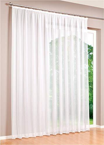DecoHome | Gardinen Store Voile Vorhang mit Kräuselband, transparent Weiß, in verschiedenen Größen | 450 x 240...