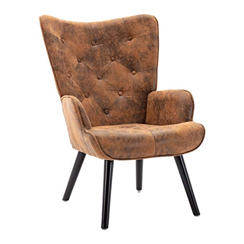 Dolonm Rustic Accent Chair Vintage Wingback Chair Microfiber Cushioned Mid Century Tall Back Desk Chair with Arms Solid Wood Legs for Reading Living Room Bedroom Waiting Room (Brown)