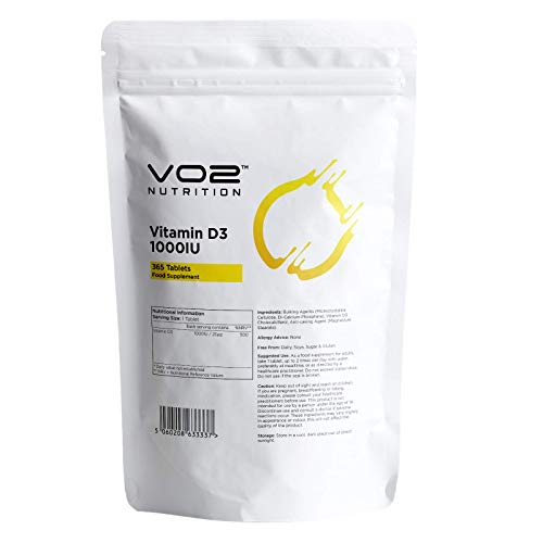 Vitamin D3 Every Day 1,000IU, 365 Tablets   Immune System Support   High Strength Cholecalciferol   Easy-Swallow Micro Tablets   Made in The UK by VO2 Nutrition