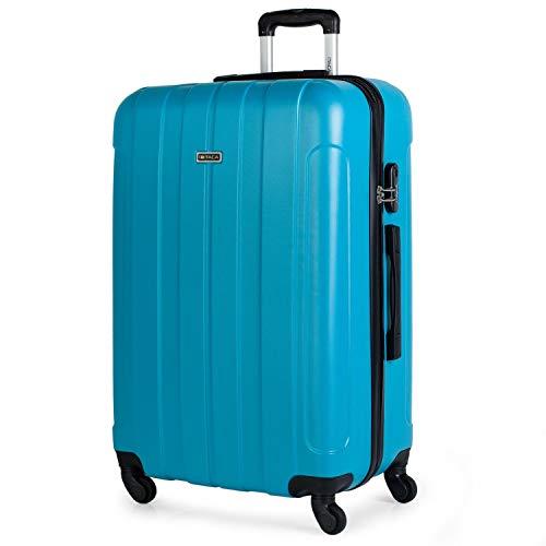 ITACA - Maleta de Viaje Grande XL Rígida 4 Ruedas Trolley 73 cm de ABS Lisa. Cómoda Resistente y Ligera. Calidad Diseño Gran Capacidad. Estilo y Marca. 771170, Color Turquesa