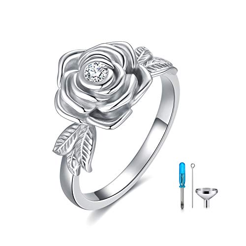 Urn Rings for Ashes 925 Sterling Silver Flower Rings with Swarovski Crystals, Cremation Jewellery Memorial Gifts for Women (7)