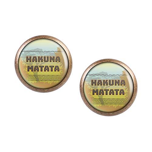 Mylery Ohrstecker Paar mit Motiv Hakuna Matata Afrika Savanne Löwen bronze 12mm