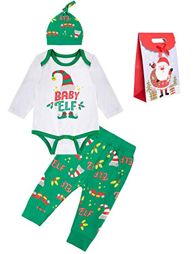 Infant Baby Boy Christmas Elf Outfits Xmas Clothes Pant Sets with Hat (3-6 Months) Green