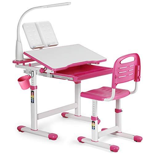 JOYLDIAS Kinderschreibtisch höhenverstellbar, Schülerschreibtisch Jugendschreibtisch mit Lampe, Schreibtisch Kinder mit Stuhl und Schublade inkl. kostenloser Kleineimer/Rosa