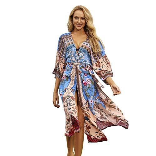 Strandkleid Damen Boho Kimono Cardigan Lang Strand Badeanzug Elegant Morgenmantel Sommerkleid