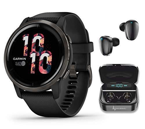 Garmin Venu 2 GPS Sport Fitness Smartwatch, Slate Bezel with Black Case and Silicone...