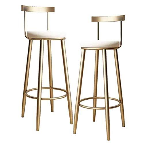 Counter Barkruk Set van 2 lederen kussen metalen frame fluweelzetel Bar Stoelen Ontbijtkeuken Counter stoelen met metalen poten Barkrukken,White,75CM