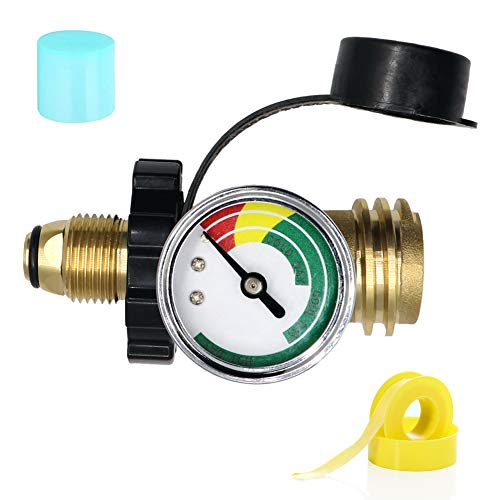 LONGADS Upgraded POL Propane Tank Adapter with New Gauge Universal Fit Convert POL LP Tank Valve to QCC1 / Type 1, Old to New Connection Type, Propane Tank Gauge, for BBQ Gas Grill, Heater, etc Connectors Grill Hoses