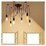 SDHouse Plafoniera Lampadario Industriale Antico Lampadario Vintage Retro Shade Edison 6 Spider Lampada da soffitto Camera da Letto Hotel Caffetteria Unica
