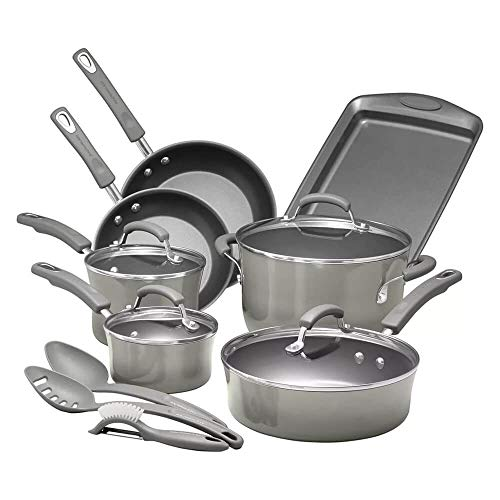 Rachael Ray Brights Nonstick Cookware Pots and Pans Set, 14 Piece, Sea Salt Gray