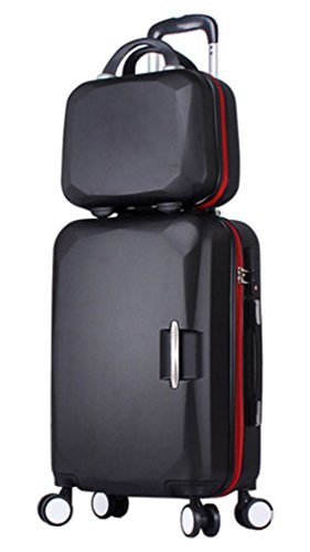 Songren Unisex Travel Luggage with Cosmetic Bag 2PCS Set ABS Suitcase Sets - 20 Inch Black