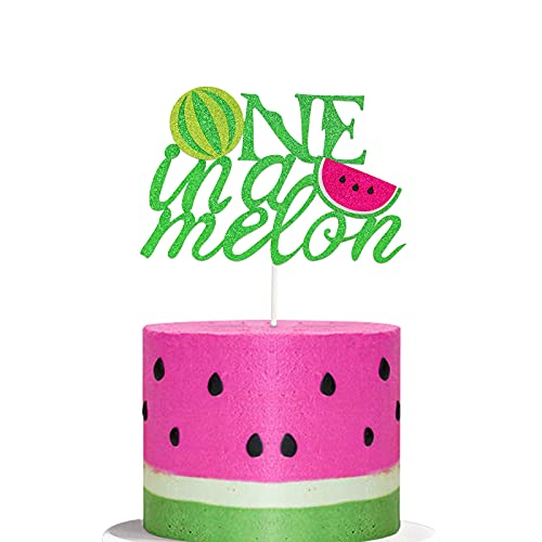 Watermelon Cupcake Topper One in A Melon Cake Topper Melon Themed Baby Girl 1st Birthday Party Supplies Summer Tropical Fruit Picks Decorations