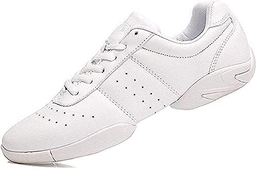 JITUUE Cheer Shoes Women Cheerleading Dance Shoes Fashion Trainers Sneakers Lace Up Gym Athletic Sport Training Shoes for Girls (White, US 7.5)