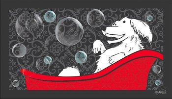 Dog Fashion Spa Happy Dog in a Tub Design No Slip Bathing Mat for Dogs