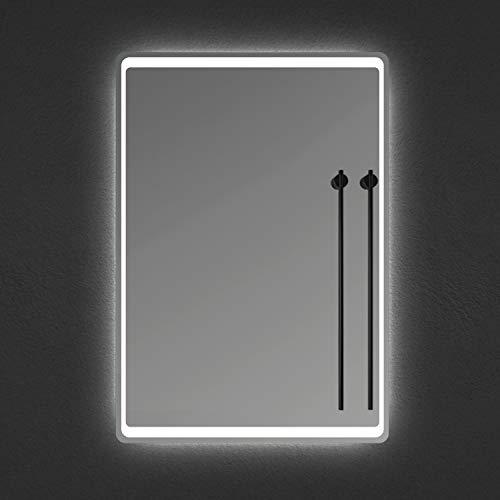 Xinyang Miroir de Salle de Bain Miroir de courtoisie avec éclairage LED et antibuée 100x70cm réversible IP44 Commande par effleurement